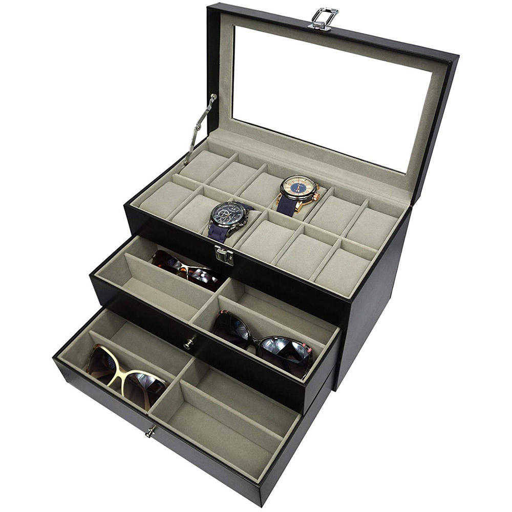 Leather Sunglasses Watch Box Eyewear Accessories Display Storage Case Organizer Holding 12 Glasses and 12 Watches black