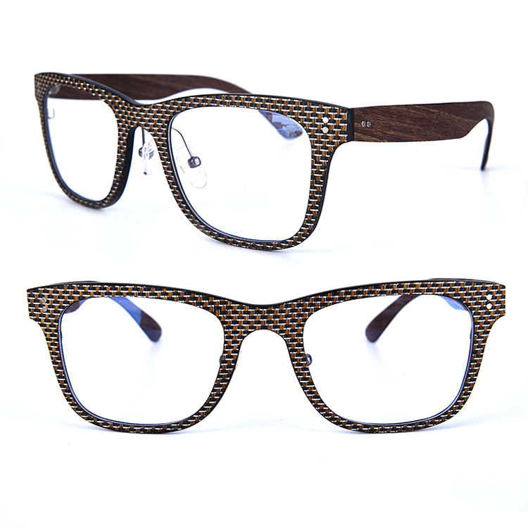 2020 YMO New model square carbon fiber luxury vintage wooden optical eyeglasses frames