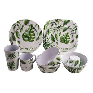 Colorful full printed apartment Cheap business super square melamine dinner set