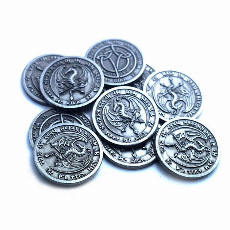 China factory Customized Made Dragon Metal Tokens Board Game Coin