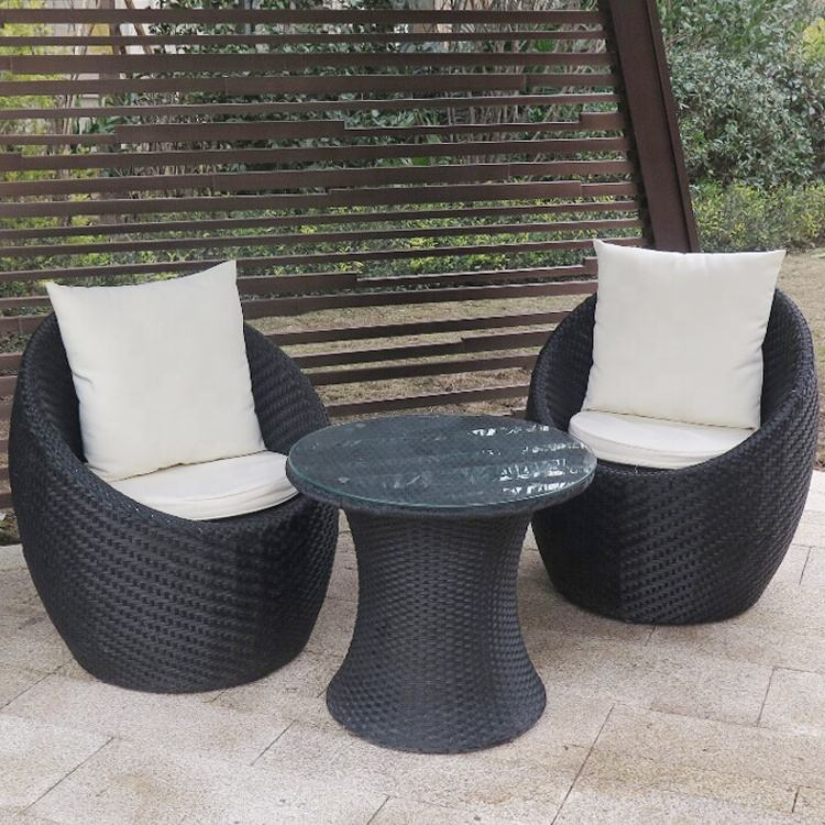 Outdoor furniture PE wicker 3 pieces rattan bistro sets Egg shell cafe table and chair