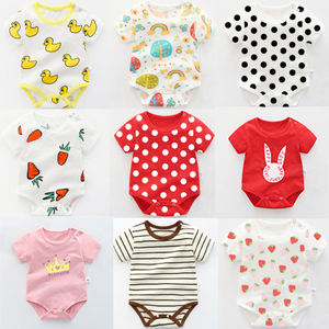 baby rompers with organic cotton wholesale girls boys colorful striated cartoon pattern