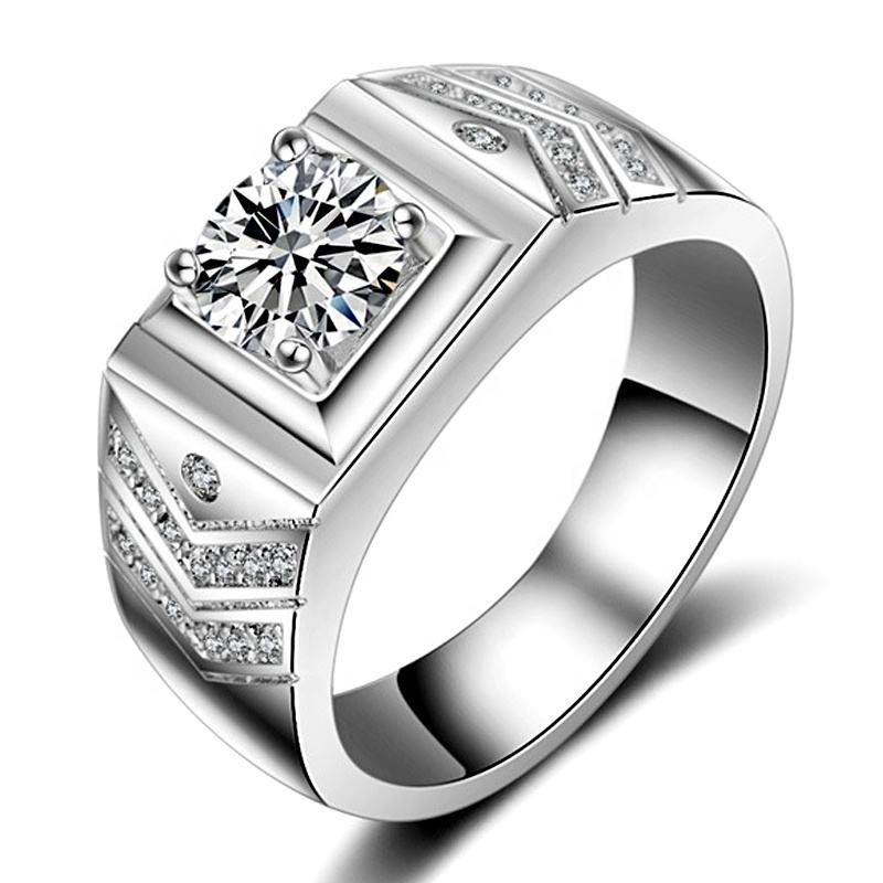 Luxury 1.0ct Diamond Ring For Men Full Rhinestone Vacuum Platinum Plating Wedding Ring Male Custom Jewelry XEYMJZ012