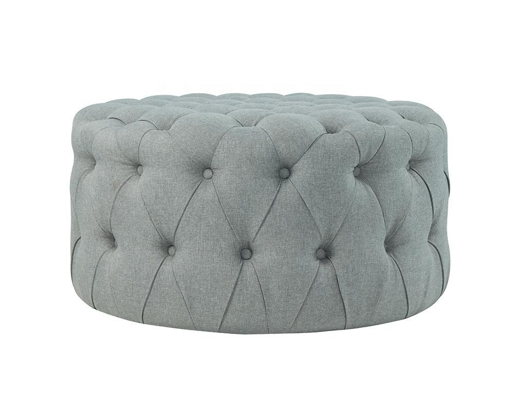 Modern Design Fashion Appearance Grey Leisure Round Ottoman&Bench For Living Room