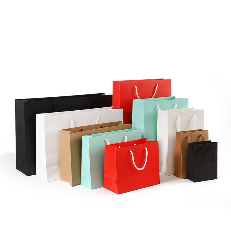 Apparel Shoe Cosmetics Food Recyclable Paper Gift Bag With Handles