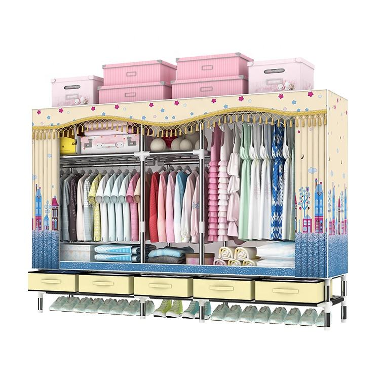Hot Sale Bedroom Furniture Plating Steel Tube Simple Style Portable Folding Fabric Movable Bedroom Cloth Wardrobe T2005