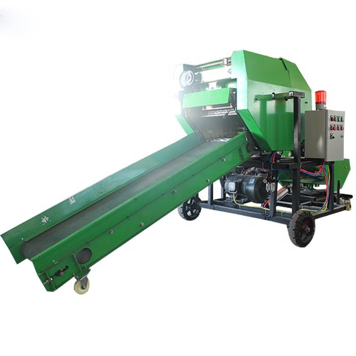 Agricultural Automatic grass straw hay round bundle baler and wrapper machine