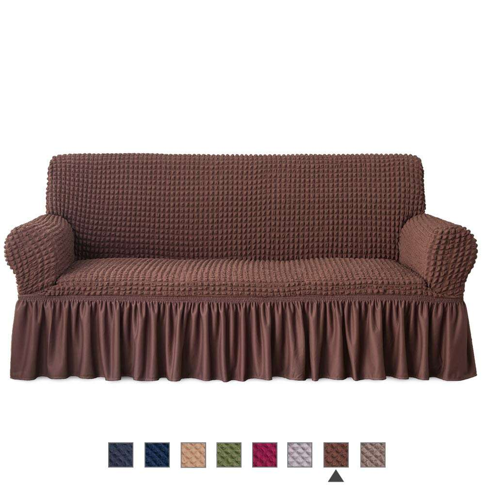 Slipcover Loveseat Cover 1 Piece Easy Fitted Sofa Couch Cover Universal High Stretchable Durable Furniture Protector with Skirt