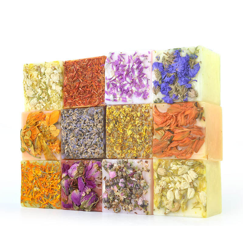 Private label 100% Pure Natural Herbal Essential Oil Soap Cleaning Face Bath Soap Flower Handmade Soap