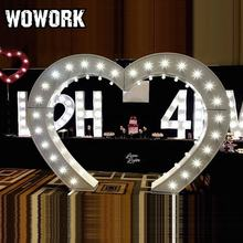 WOWORK LED illuminated photography heart shaped wedding arch for decorative events stage hire