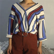 Wholesale Lady's Stripe Printed Casual Blouse&shirt lady
