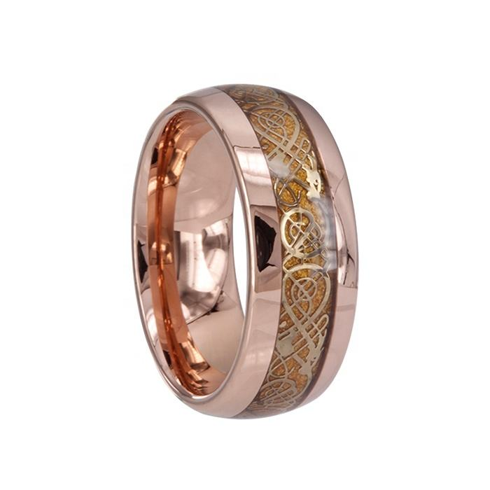 Projetos Chengjewelers ip rose gold dragon tungstênio wedding band