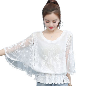 Top selling elegant fashion big size sexy see through zomer lace top shirts blouses voor vrouwen