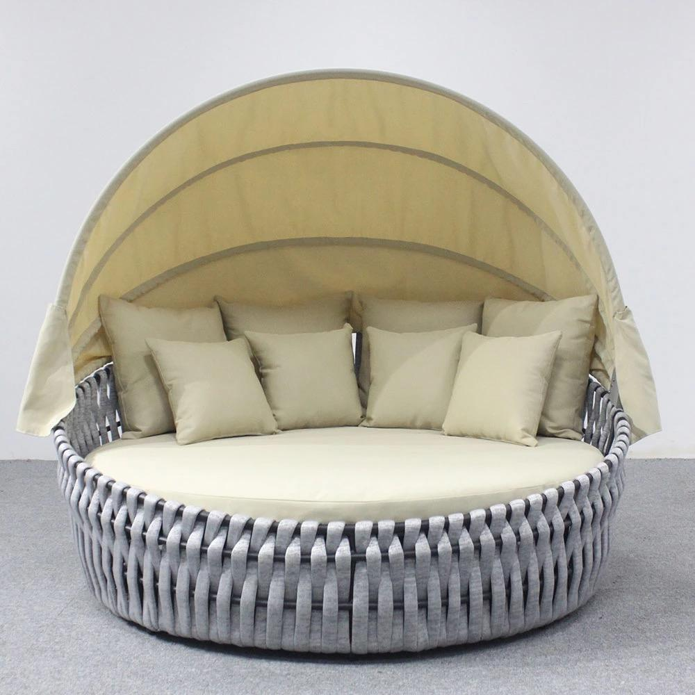 Hot Sale Outdoor Ropes Lounge Daybed With Canopy