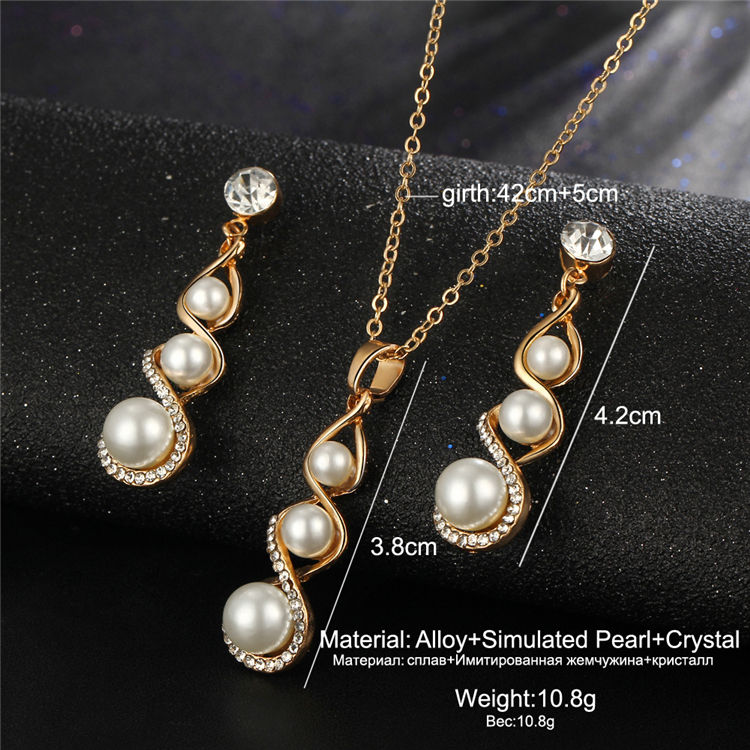 Fancy women accessories pendant necklace earrings sets gold plated pearl jewelry set