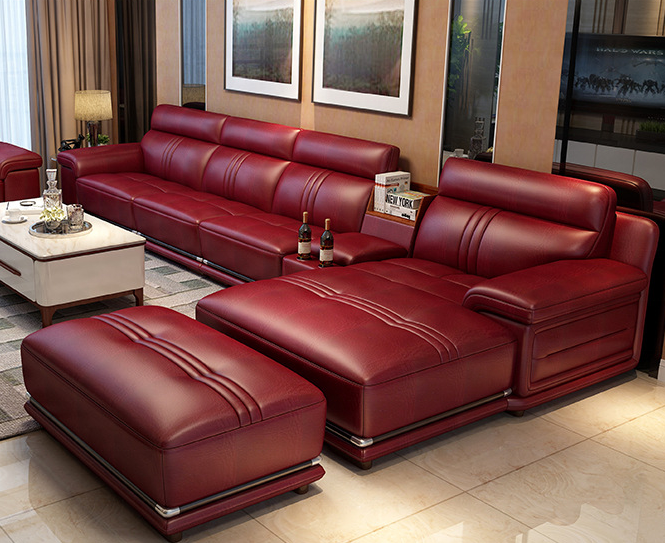 hot selling european style furniture genuine leather 7 seater sofa set living room luxury corner sofa