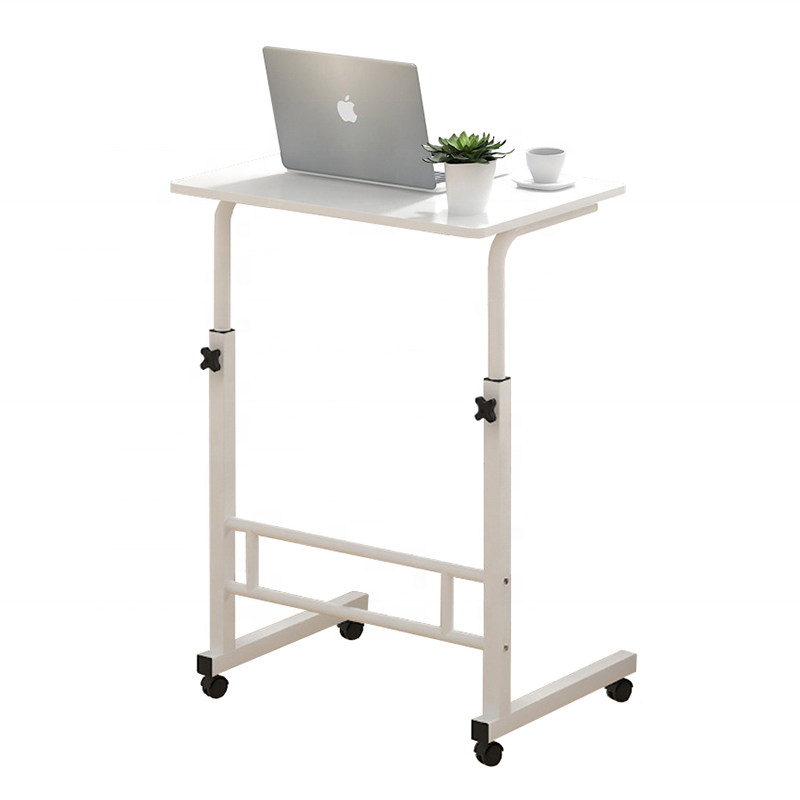 Wooden Portable Computer Table Steel Tubes Laptop Stand PC Desk With Casters Metal Frame On Wheels