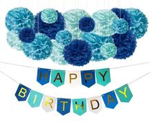Easternhope DIY Blue Birthday Decorations Happy Birthday Party Banner Sign and Tissue Paper Pom-Poms Decor Kit for Boys Girls