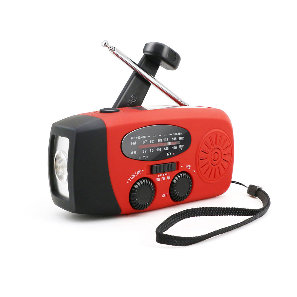 Radio de emergencia solar FM NOAA Radio de tiempo Radio de audio Cargador de tel/éfo manivela de mano multifuncional linterna que acampa de energ/ía solar Linterna de LED solar manivela de la mano AM