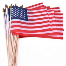 Factory Direct Sales Custom Printing Polyester  American Flags On Sticks With Wooden Rod