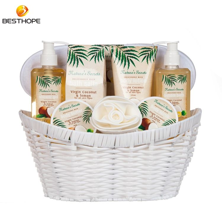 customized luxury coconut shower gel oem spa gift bath set in basket