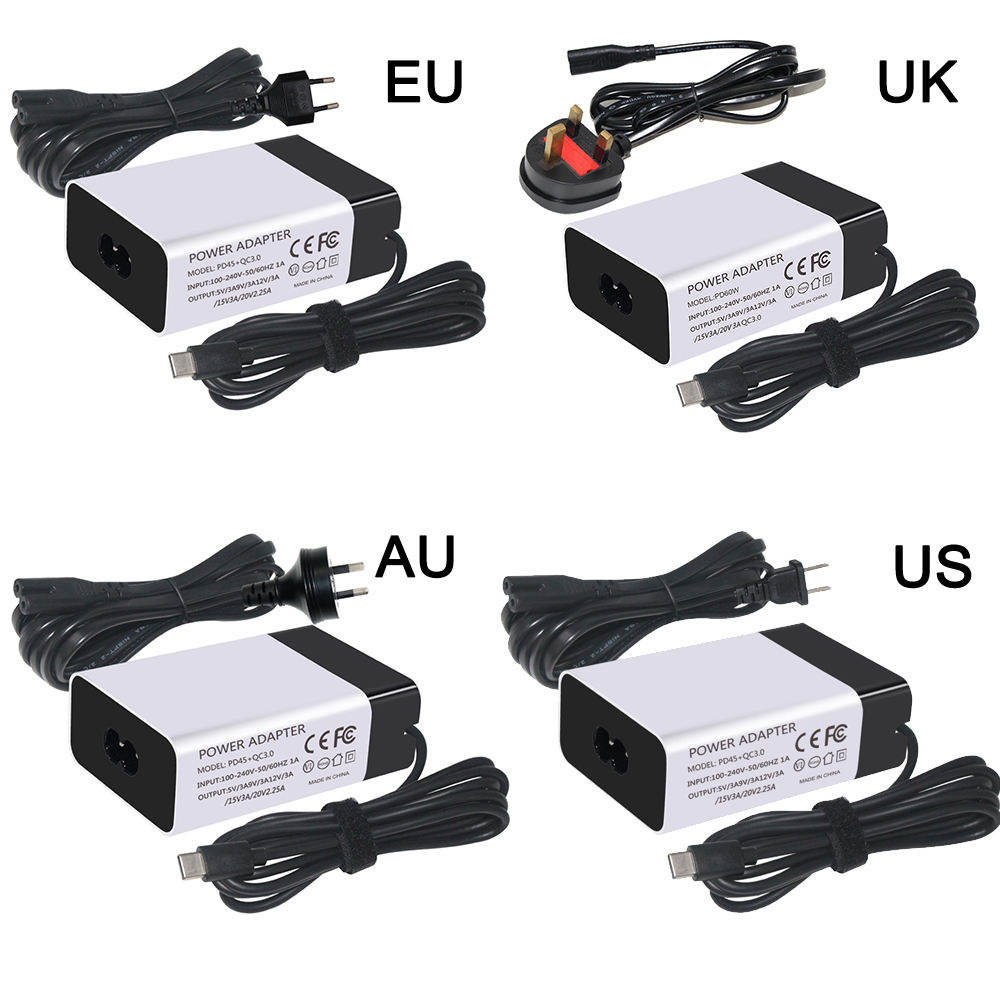 New Quick Charge 5V 9V 12V 15V 20V 3A Laptop Power Adapter 65w 45w USB Type C PD Charger