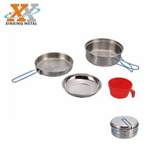 Hot sale 1 person stainless steel cook set camping cookware travelling Kit