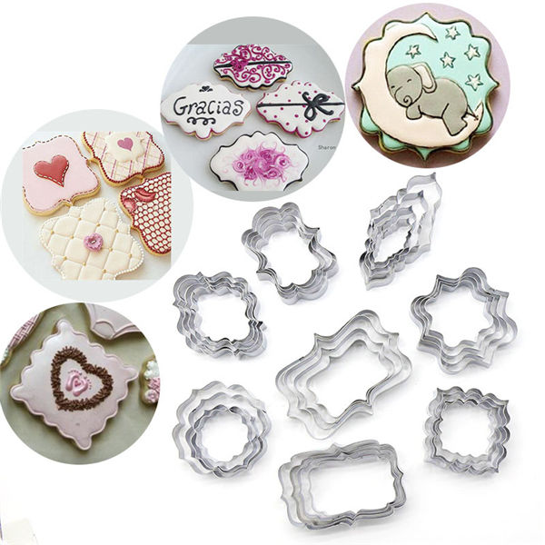 factory stainless steel picture frame custom multi 4pcs cookie cutter
