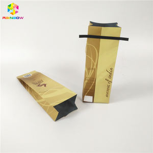 Custom side gusset stand up flat bottom coffee bag with one way degassing valve small plastic bags for packaging