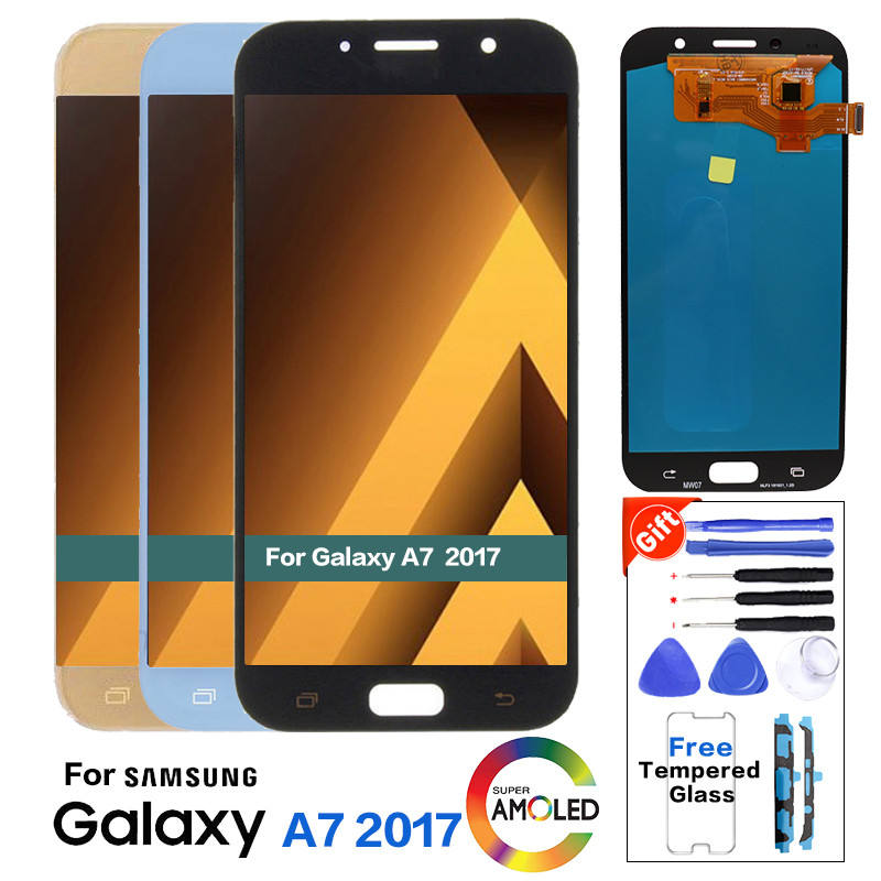 Super AMOLED Display del Telefono Per Samsung Galaxy A7 2017 A720 A720F A720M Lcd Touch Screen Digitizer Assembly LCD di Ricambio