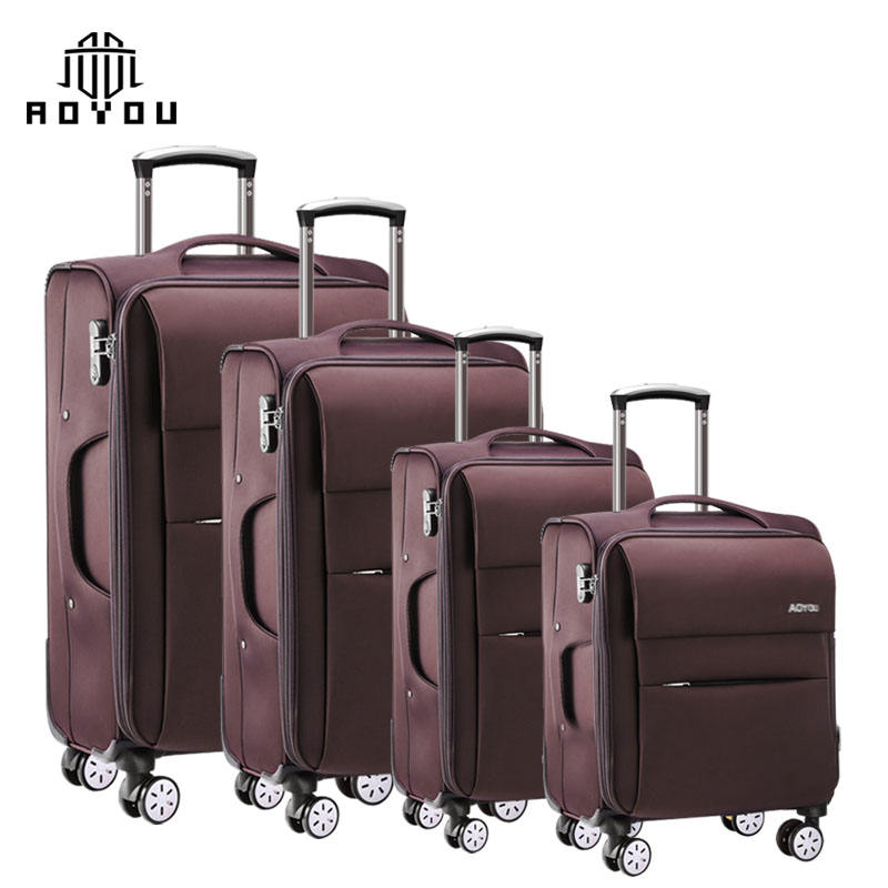 "4pcs 16""/20""/24""/28"" Soft Nylon Custom Carry-on Wheeled Expandable Travel Trolley Suitcase Luggage Bag"