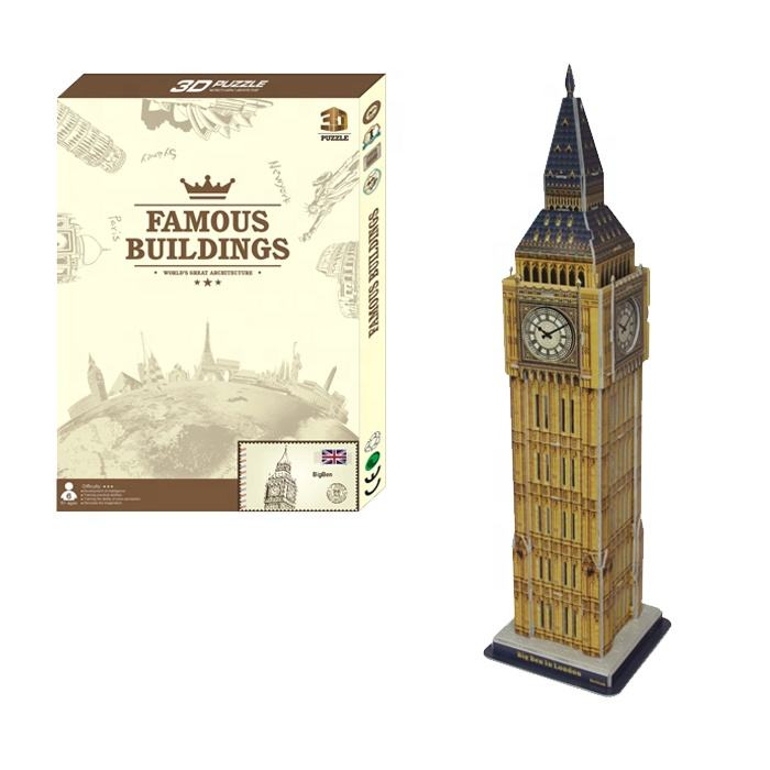 High Quality Kids 3d Diy Toy Famous Building Big Ben Paper Eiffel Tower Custom Jigsaw Puzzle