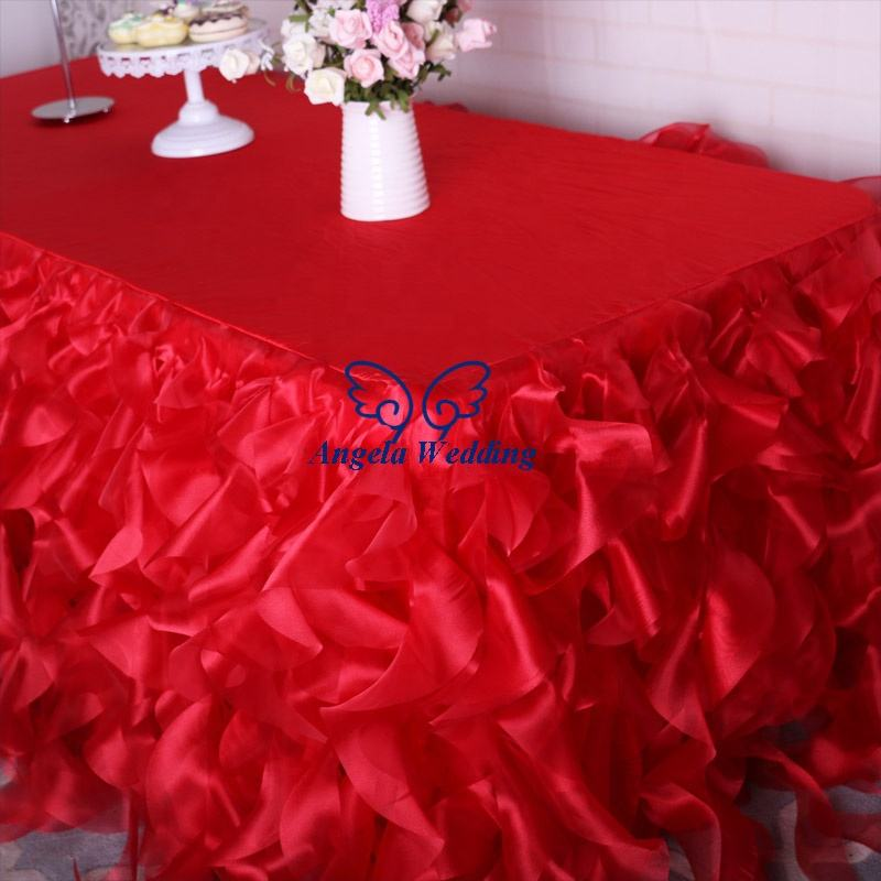 CL010 Christmas 14ft, 17ft or 21ft organza curly willow table skirt or table cloth