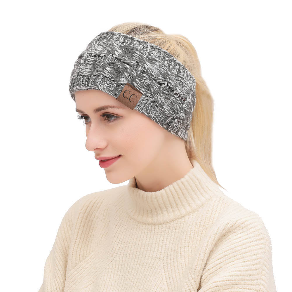 Women Girl Winter Warm Knitted Crochet Headband Turban Dotted Hairband Headwear