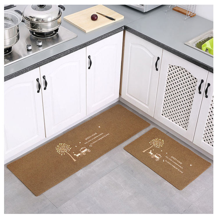 Dust control non slip classical design 2pcs polyester screen printing kitchen mat set