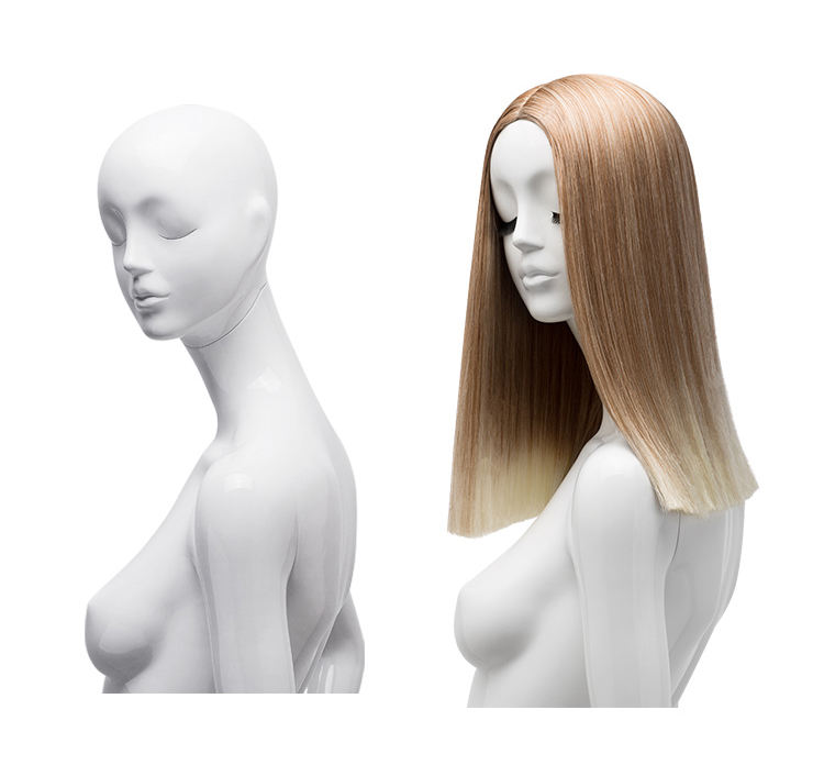 Luxury high quality synthetic hair display ombre color long silky human hair straight wig for sale