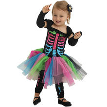 Hot sale Halloween party fancy children girls  skeleton cosplay costume for kids skeleton costumes
