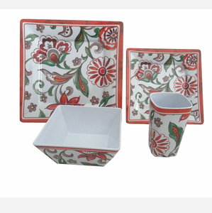 Very popular flower decal design melamine dinnerware 16pcs square shape bowls and plates set for restaurant dinner set