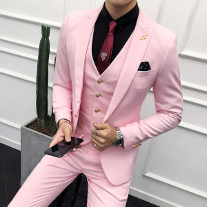 Formal Official boutonniere Decoration Peaked Lapel Men Suit WF567