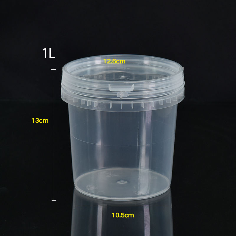 1L Honey Candy Chocolate Lollipop Jam Butter Ice Cream Cookie Bucket For Packaging Plastic Tub Food Safe Round Transparent