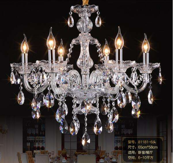Modern classic metal frame 6 lights K9 crystal clear chandelier