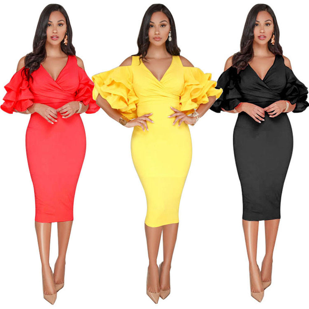 SAK9184 ruffle sleeves deep v neck sexy midi evening gowns women bodycon formal dress