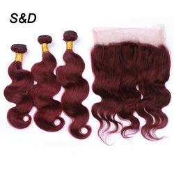Wholesale Wine Red Human Hair Wigs With 360 Frontal 22.5x4x2