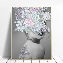 Nordic Style Beauty Flower Girl Canvas Painting Poster And Print For Living Room Fashion Home Decor HD Wall Art