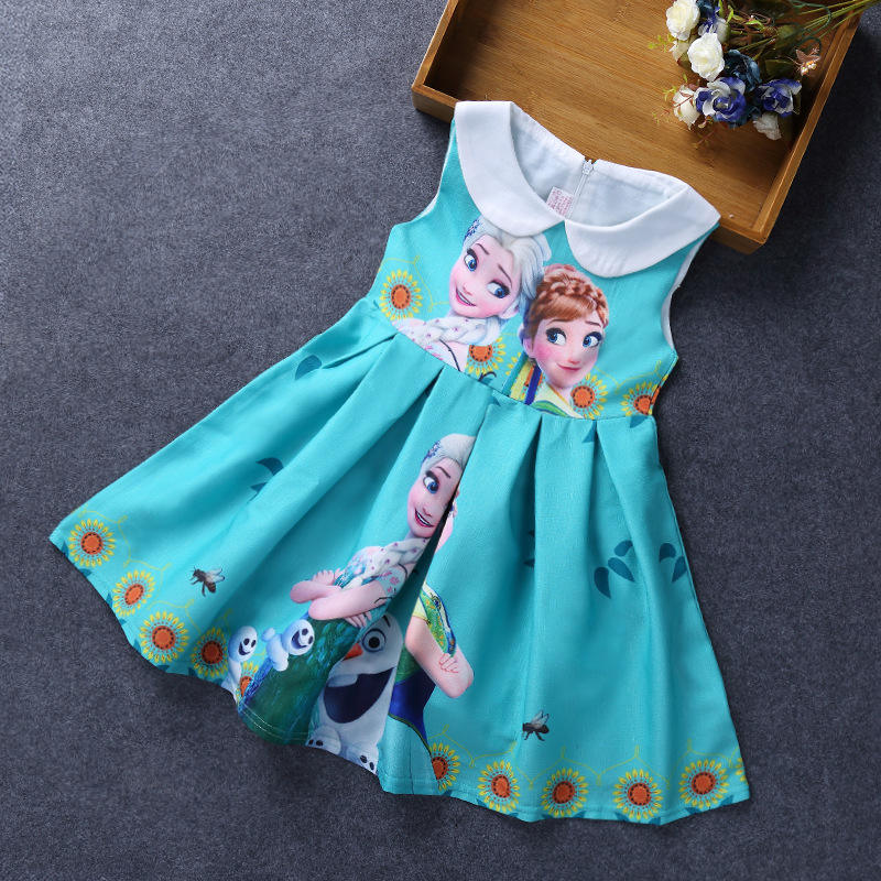 customer own design kids girl birthday dress with collar