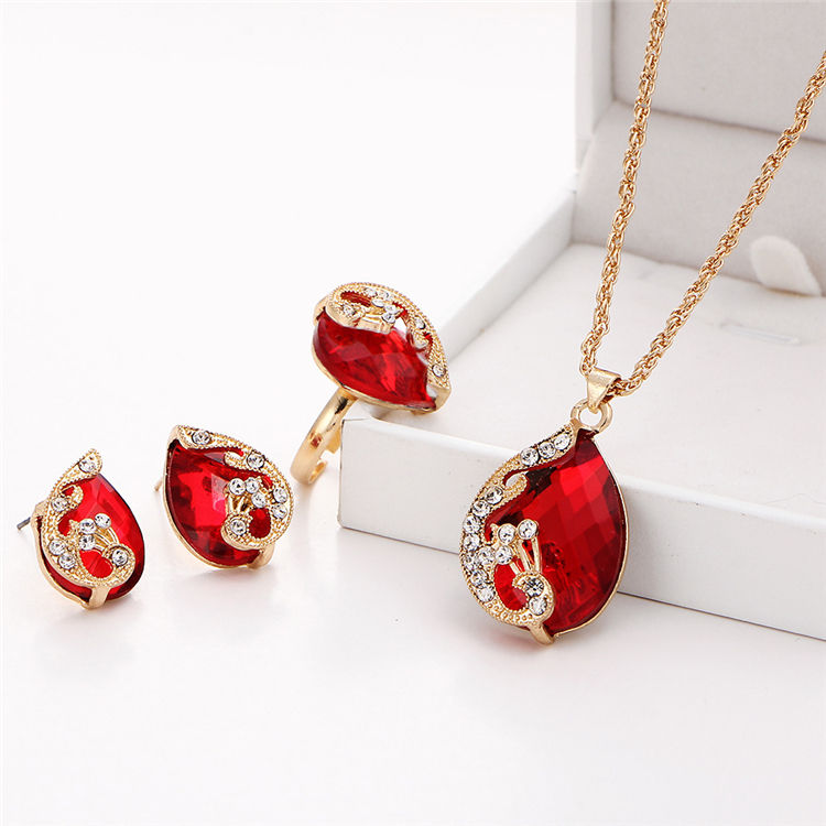 2020 New Ladies Zircon Necklace Earrings Set Luxurious Alloy Crystal Jewelry Set