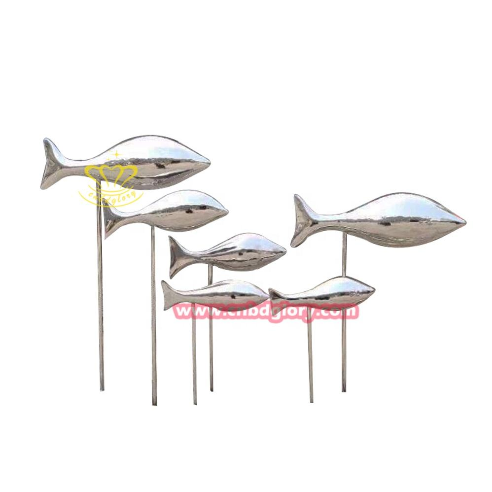 Metal Ornament Water Garden Ornaments Stainless Steel Sculpture 3D Fish Decorative Flowers