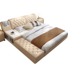 Modern Designer Crystal Button Tufted Bed All Sizes Leather Upholstery King/Queen bed V&P-c9007a#