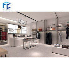 Garments showroom counter design clothes kiosk design idea for clothing