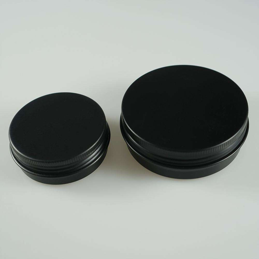Matte / gloss 15g 30g 50g 100g black food grade aluminum jar / beard oil can /storage aluminum tin